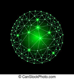 Sphere connected - Green internet web envelopes sphere on...