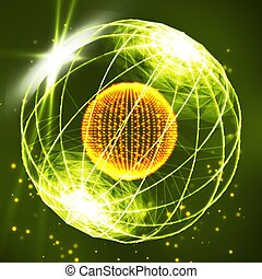 Sphere Consisting Of Points. Data Exploding Sphere Made Of Points And Dots.