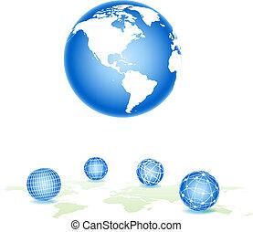 sphere., ensemble, vecteur, eps10