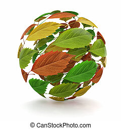 Sphere from red, green and yellow leaf