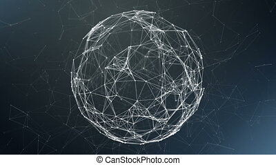 Sphere, globe and space in the form of a plexus. Abstract geometric background with moving lines, dots and triangles. Plexus fantasy abstract technology.