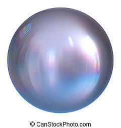 Sphere globe white pearl, round button silver, chrome ball