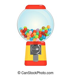 Sphere gumball machine container with sweet candies vector...