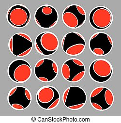 sphere icon set in black red