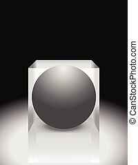Sphere in cube. Abstract 3d illustration. Editable vector.