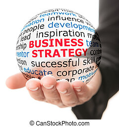 Sphere in hand with inscription business strategy