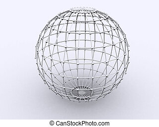3d rendered image of a sphere. Lattice = An open framework made of strips of metal, wood, or similar material overlapped or overlaid in a regular, usually crisscross pattern.