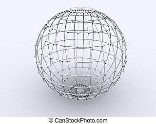 Sphere in Lattice - 3d rendered image of a sphere. Lattice =...