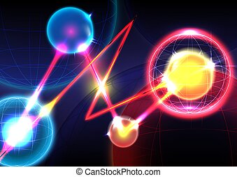 Sphere, neon light and laser on background. Futuristic interface. Virtual reality technology screen. Vector illustrator