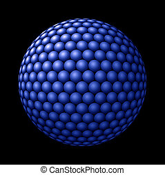 Sphere of Blue Spheres against Black