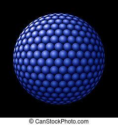 Sphere of Blue Spheres against Black