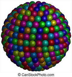 Sphere of colourful spheres - Each sphere is collocated...