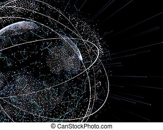 Sphere of glowing particles. Futuristic concept