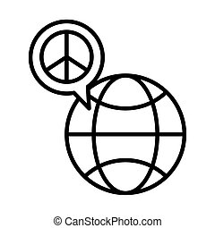 sphere planet with peace symbol in speech bubble line style icon