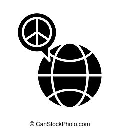 sphere planet with peace symbol in speech bubble silhouette style icon