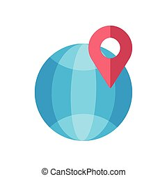 sphere planet with pin location icon