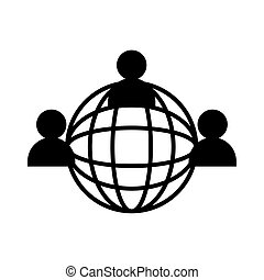 sphere planet with teamwork people silhouette style icon