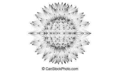 Sphere rotating in space on dark background. - Virus or...