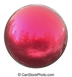 Sphere round globe button red, ball basic solid figure