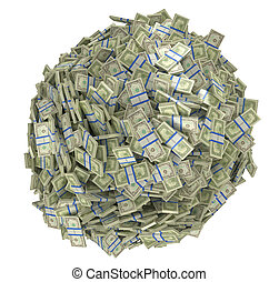 Sphere shape assembled of US dollar bundles