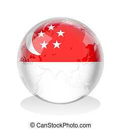 Crystal sphere of Singaporean flag with world map