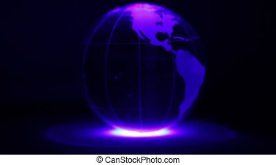Sphere spins with world map on it and ring of color illumination on dark background