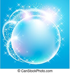 Sphere surrounded by sparkling fireworks and stars - Sphere ...