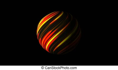 Sphere with bright glowing lines on black, 3d render...