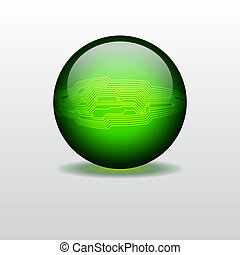 Sphere with circuit board texture