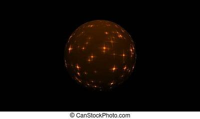 Sphere with gold glittering stars on black, celebratory 3d rendering backdrop