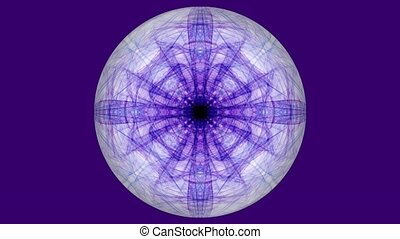 Sphere with purple fractal patterns on dark purple background. Tunnel motion in white circle shape. Beautiful video decoration in modren violet.