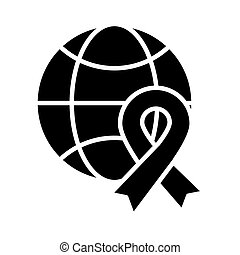sphere with ribbon campaign silhouette style icon