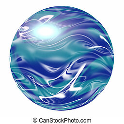 A blue and white round sphere, planet or marble.
