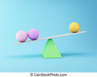 Spheres 3d Balancing on a Seesaw. Business concept. - 3D ...