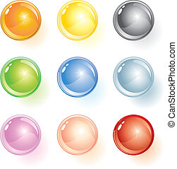 Spheres - Colored glass vector buttons or spheres