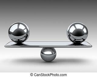 spheres., dwa, metaliczny, wielki, między, waga