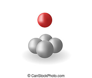 Spheres - Four grey spheres and one red sphere