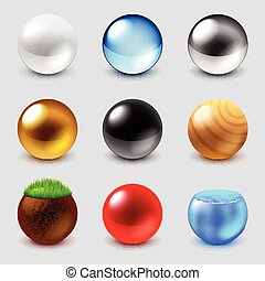 Spheres from different materials icons vector set