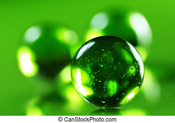 Spheres - Green glass spheres