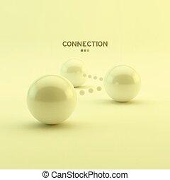 spheres., illustration., negócio, concept., conexão, vetorial, lustroso