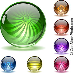 spheres., lustroso, coloridos