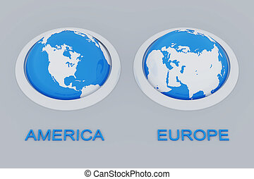 spheres of earth with the American and European continents