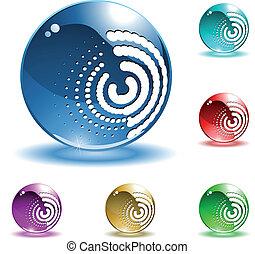 spheres, vektor, glänsande