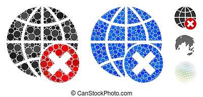 spheric, 項目, アイコン, globalization, モザイク, 止まれ