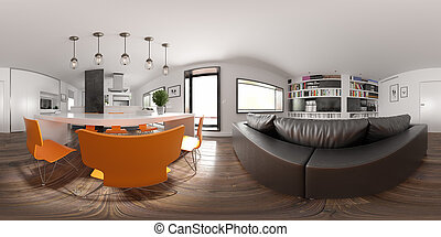 Spherical 360 panorama projection Scandinavian style interior design 3 D rendering