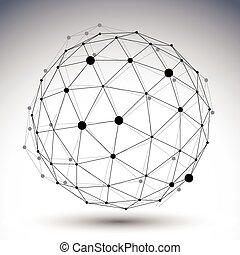 Spherical abstract black and white lined 3D illustration, vector
