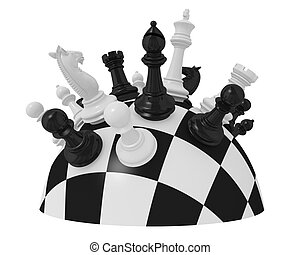 chess - spherical chess board with some pieces (3d render)