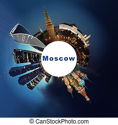 spherical collage of Moscow night. Travel concept