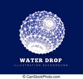 Spherical drop of water on a blue background