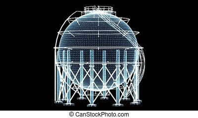 Spherical gas tank consisting of luminous lines and dots. 3d...